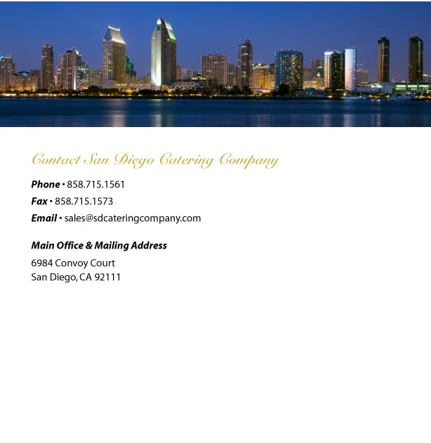 sdcateringcompany.com San Diego catering corporate lunches weddings holiday parties sports banquets picnics full      service events